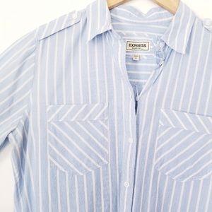 Express Blue & White striped Boyfriend button down